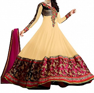 Beautiful Fancy cream color Anarkali Suit @ Rs830.00