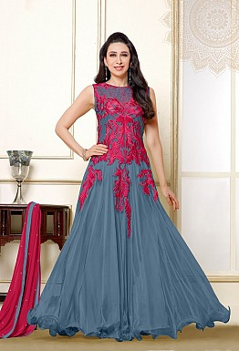 Karishma Grey Pink Anarkali Salwar suit with Dupatta @ Rs1579.00