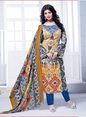 Unstitched blue Straight Pashmina suit @ Rs866.00