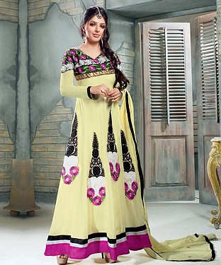 Anarkali yellow georgette Suit@ Rs.1669.00