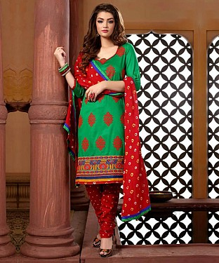 Unstitched straight cotton suit @ Rs1286.00