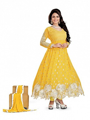 Embroidered Yellow Salwar Suits Dress Material @ Rs989.00