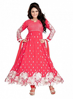 Embroidered Red Salwar Suits Dress Material @ Rs989.00