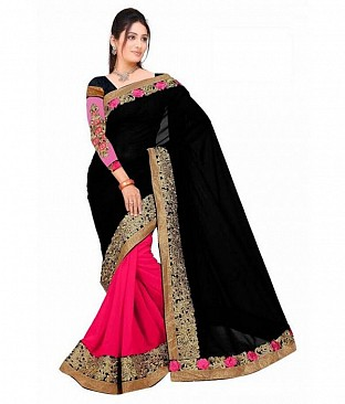 Black and Pink Embroidered Bollywwod Georgette Saree @ Rs864.00