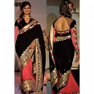 Black and Pink Embroidered Bollywood Georgette Saree @ Rs864.00