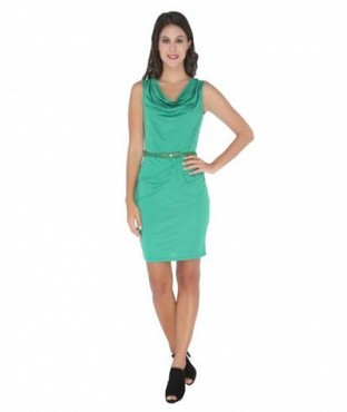 Elliana Stylish Green Bodycon Dress @ Rs977.00