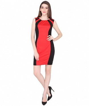 ELLIANA RED BODYCON DRESS@ Rs.940.00