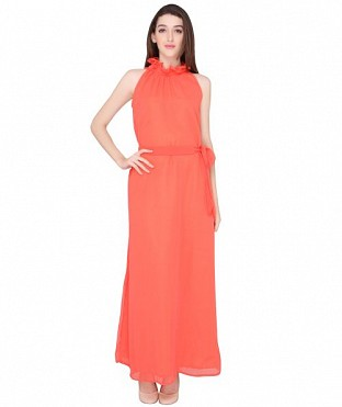 ELLIANA PEACH GOWN DRESS@ Rs.1224.00