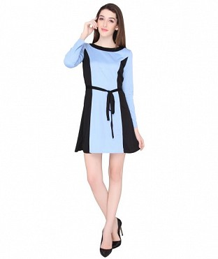 ELLIANA CONTRAST PANEL SKATER DRESS @ Rs767.00