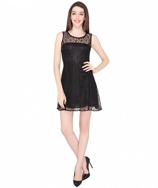 ELLIANA PREETY WOMEN BLACK SKATER DRESS @ Rs977.00