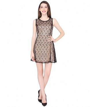 ELLIANA PREETY WOMAN CREAM SKATER DRESS @ Rs977.00