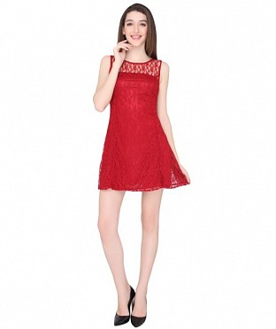 ELLIANA PREETY WOMAN MAROON SKATER DRESS @ Rs977.00