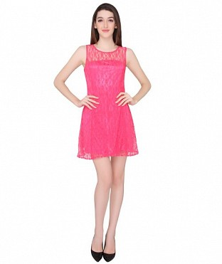 ELLIANA PREETY WOMAN PINK SKATER DRESS @ Rs977.00