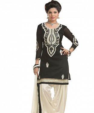 Black And white Chanderi Cotton Embroidered Party Wear Unstitched Dress@ Rs.1025.00