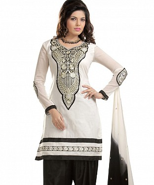 White And Black Chanderi Cotton Embroidered Party Wear Unstitched Dress@ Rs.1025.00