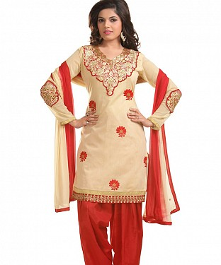 Beige And Red Chanderi Cotton Embroidered Party Wear Unstitched Dress @ Rs1025.00