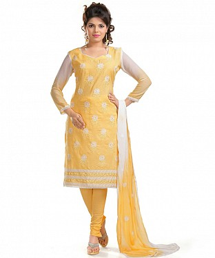 Yellow Cotton Embroidered Party Wear Unstitched Dress @ Rs902.00