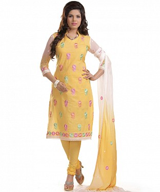 Yellow Cotton Embroidered Party Wear Unstitched Dress@ Rs.958.00