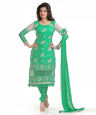 Green Cotton Embroidered Party Wear Unstitched Dress@ Rs.958.00
