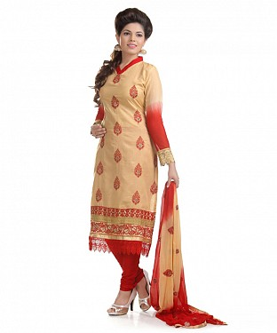Beige And Red Cotton Embroidered Party Wear Unstitched Dress @ Rs958.00