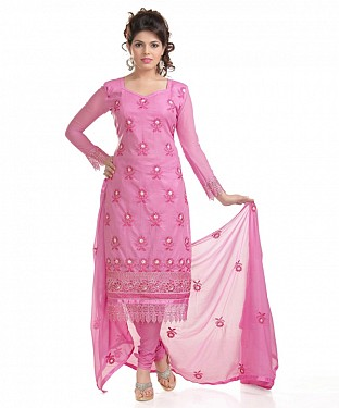 Pink Cotton Embroidered Party Wear Unstitched Dress @ Rs958.00