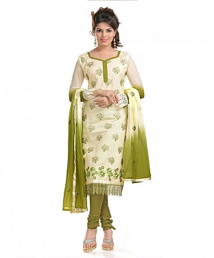 Cream And Mendi Green Cotton Embroidered Party Wear Unstitched Dress @ Rs958.00