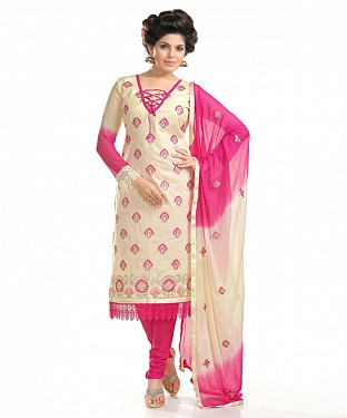 Cream And Rani Pink Cotton Embroidered Party Wear Unstitched Dress @ Rs958.00