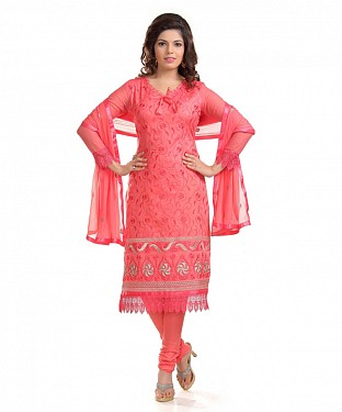 Peach Cotton Embroidered Party Wear Unstitched Dress @ Rs1082.00