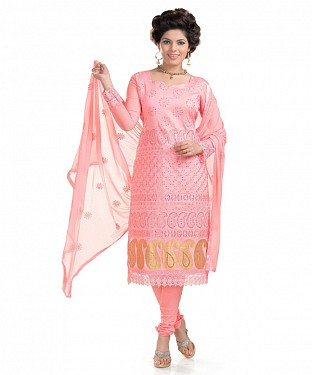 Peach Glaze Embroidered Party Wear Unstitched Dress @ Rs1235.00