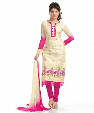 Cream And Rani Pink Glaze Embroidered Party Wear Unstitched Dress@ Rs.1025.00