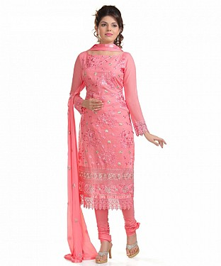Light Peach Glaze Embroidered Party Wear Unstitched Dress @ Rs988.00