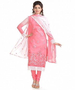 Light Pink Glaze Embroidered Party Wear Unstitched Dress @ Rs958.00