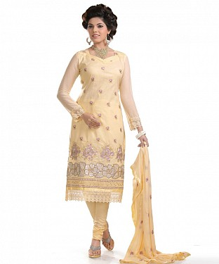 Light Yellow Glaze Embroidered Party Wear Unstitched Dress@ Rs.958.00