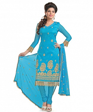 Blue Glaze Embroidered Party Wear Unstitched Dress@ Rs.1025.00