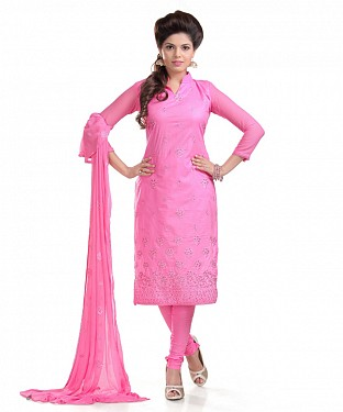 Pink Glaze Embroidered Party Wear Unstitched Dress@ Rs.958.00