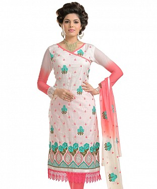 Off-White And Peach Cotton Embroidered Party Wear Unstitched Dress @ Rs1112.00