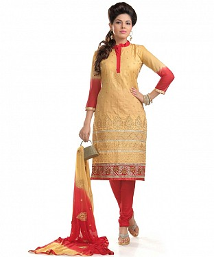 Beige And Red Cotton Embroidered Party Wear Unstitched Dress@ Rs.1149.00