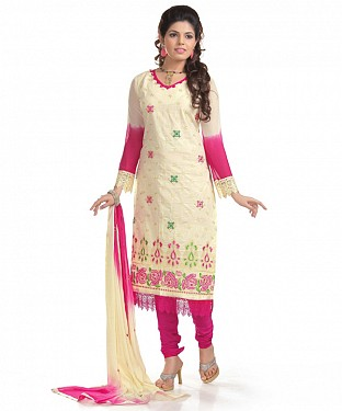 Cream And Pink Cotton Embroidered Party Wear Unstitched Dress @ Rs1050.00
