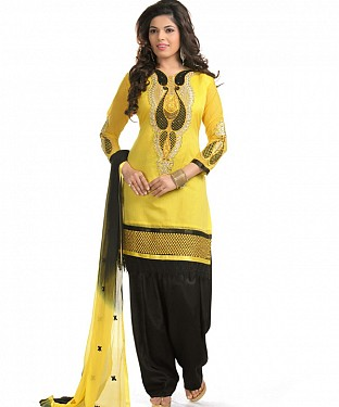 Yellow And Black Cotton Embroidered Party Wear Unstitched Dress @ Rs958.00