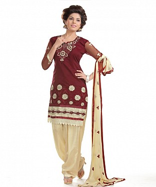 Brown And Cream Cotton Embroidered Party Wear Unstitched Dress @ Rs988.00