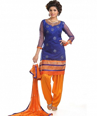 Purple And Orange Cotton Embroidered Party Wear Unstitched Dress @ Rs1050.00
