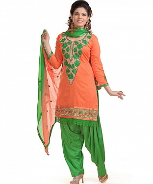 Orange And Green Cotton Embroidered Party Wear Unstitched Dress @ Rs988.00