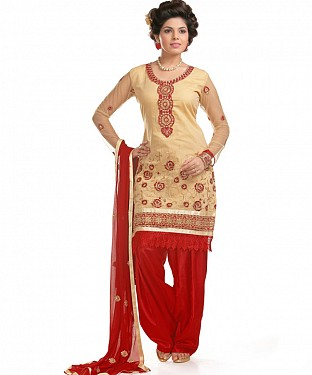 Beige And Red Cotton Embroidered Party Wear Unstitched Dress@ Rs.1050.00