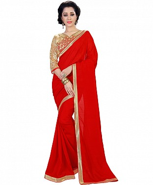 Self Designed Red Heavy Georgette Fancy Lace Work Saree@ Rs.1173.00