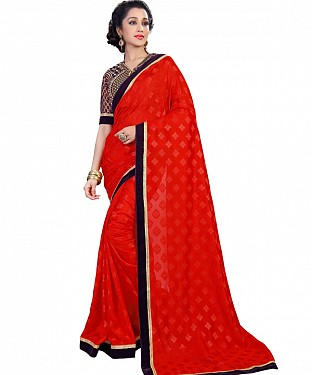 Self Designed Red Jacquard Georgette Fancy Lace Work Saree @ Rs1482.00