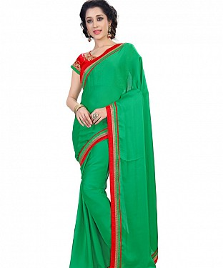 Green Satin Chiffon Fancy Border Work Bollywood Saree @ Rs1235.00