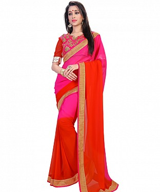 Self Designed Pink Padding Georgette Saree@ Rs.1149.00