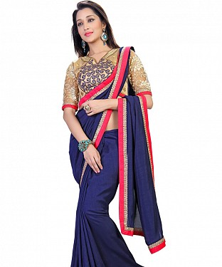 Self Designed Navy Blue Kashmiri Art Silk Saree @ Rs1149.00