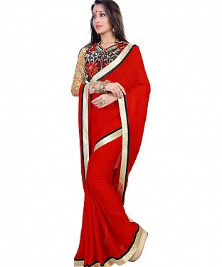 Red Jacquard Georgette Self Designed Saree @ Rs1482.00