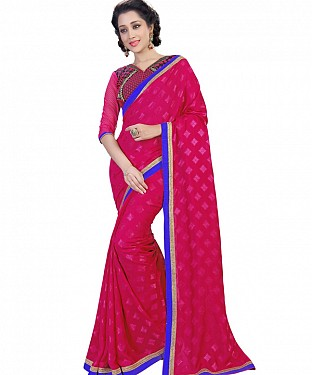 Self Designed Pink Jacquard Georgette Fancy Lace Work Saree @ Rs1285.00